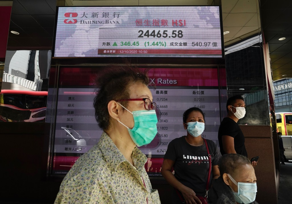People walk past a bank's electronic board showing the Hong Kong share index at Hong Kong Stock Exchange Monday, Oct. 12, 2020. Asian shares are mostl...