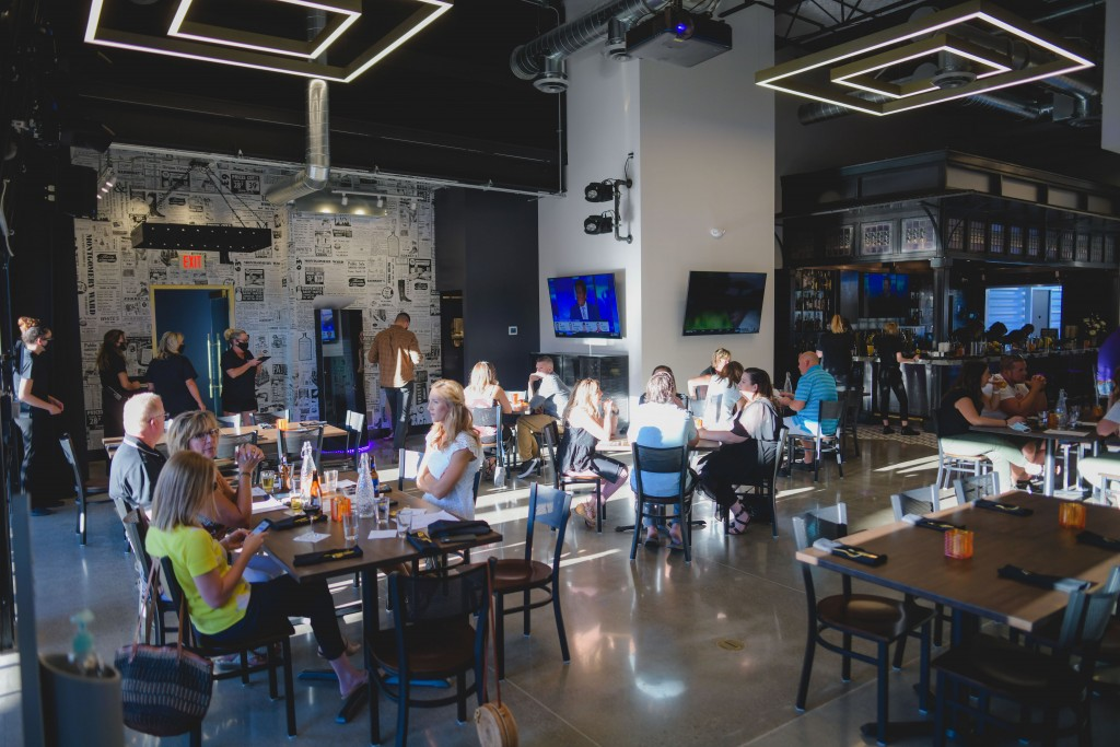This photo provided by Adam M. Rammel shows the main dining room at The Syndicate on Aug. 20, 2020 in Bellefontaine, Ohio. Ohio's restrictions forced ...
