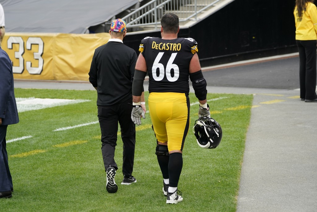 Pittsburgh Steelers offensive guard David DeCastro (66) walks off the field during the first half of an NFL football game against the Philadelphia Eag...