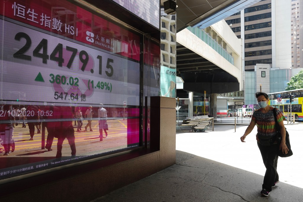 A man walks past a bank's electronic board showing the Hong Kong share index at Hong Kong Stock Exchange Monday, Oct. 12, 2020. Asian shares are mostl...