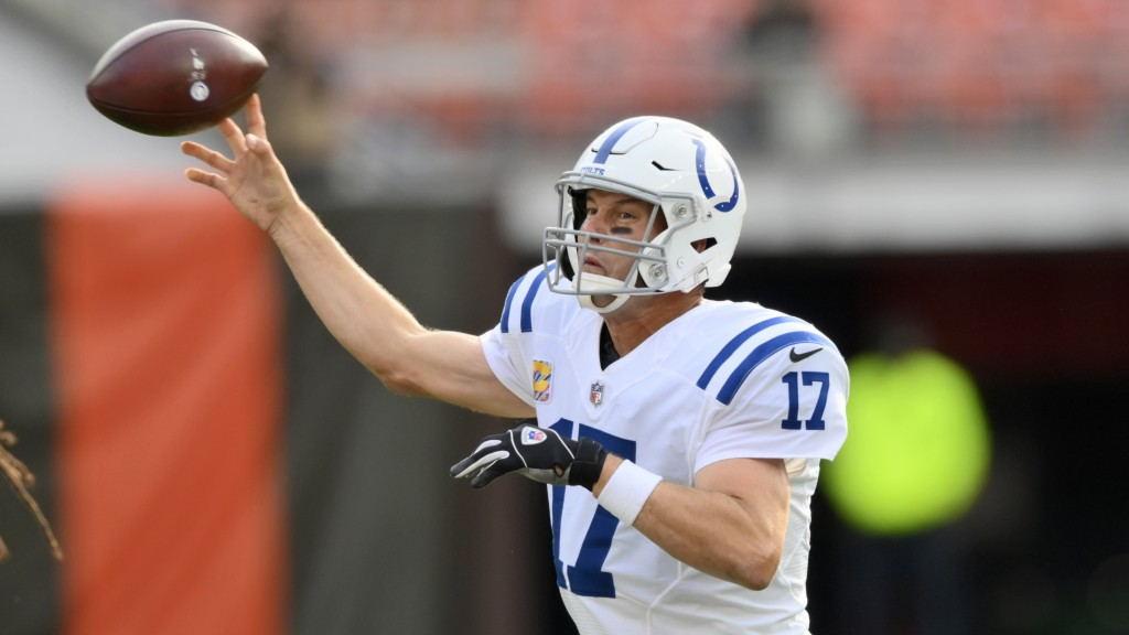 Indianapolis Colts quarterback Philip Rivers throws during the first half of an NFL football game against the Cleveland Browns, Sunday, Oct. 11, 2020,...