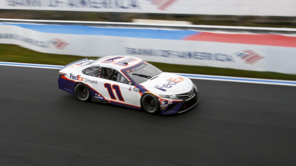 Denny Hamlin (11) competes in a NASCAR Cup Series auto race at Charlotte Motor Speedway in Concord, N.C., Sunday, Oct. 11, 2020. (AP Photo/Nell Redmon...