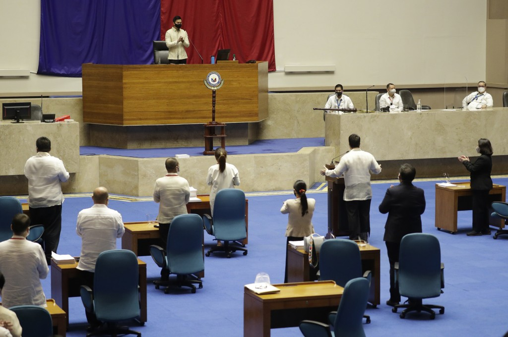New House Speaker Lord Allan Velasco gestures during his first day at the House of Representatives in Quezon city, Philippines on Tuesday, Oct. 13, 20...