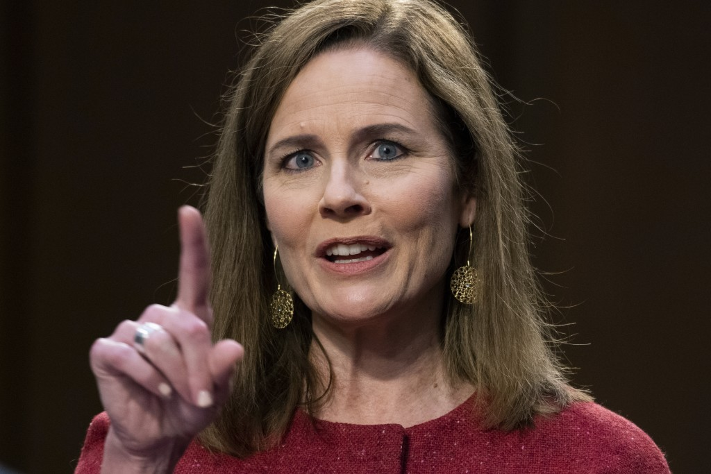 Supreme Court nominee Amy Coney Barrett speaks during her confirmation hearing before the Senate Judiciary Committee on Capitol Hill in Washington, Tu...