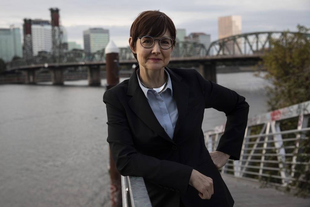 Portland, Oregon, mayoral candidate Sarah Iannarone poses in Portland, Friday, Oct. 9, 2020. With Election Day weeks away, Portland Mayor Ted Wheeler ...