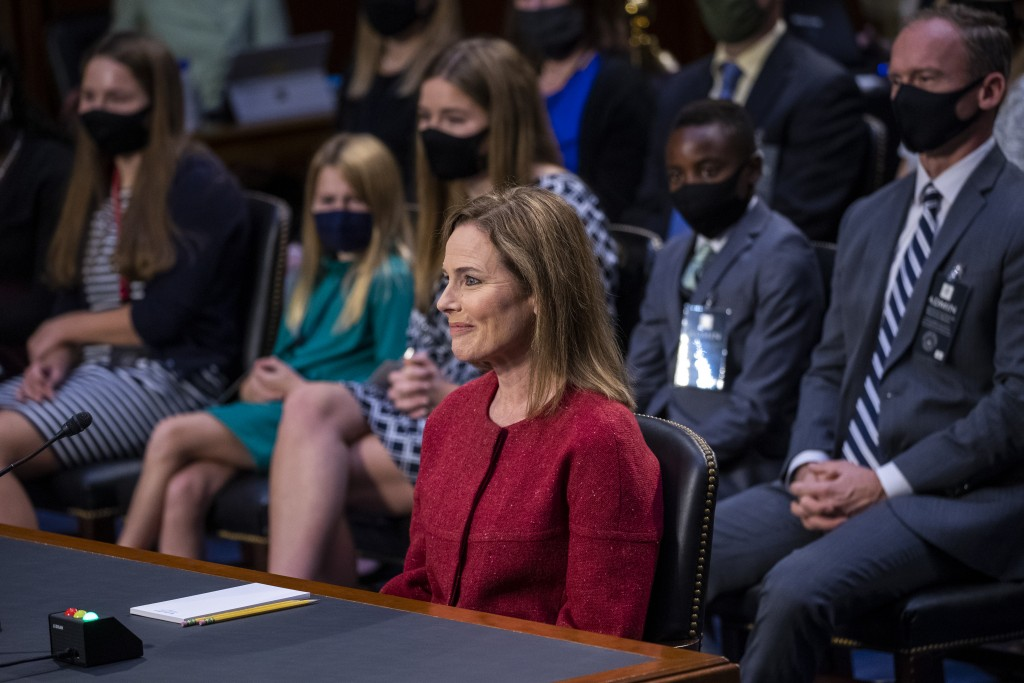 Supreme Court nominee Amy Coney Barrett speaks during a confirmation hearing before the Senate Judiciary Committee, Tuesday, Oct. 13, 2020, on Capitol...
