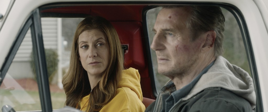 "This image released by Open Road Films shows Kate Walsh, left, and Liam Neeson in a scene from ""Honest Thief."" (Open Road Films via AP)"