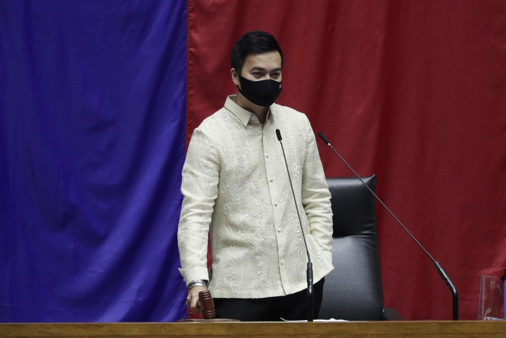 New House Speaker Lord Allan Velasco bangs the gavel during his first day at the House of Representatives in Quezon city, Philippines on Tuesday, Oct....