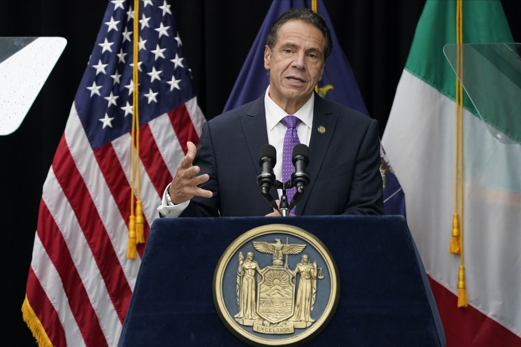 New York Gov. Andrew Cuomo speaks at a ceremony to unveil the statue of the patron saint of immigrants, Mother Frances Cabrini, in Battery Park Monday...