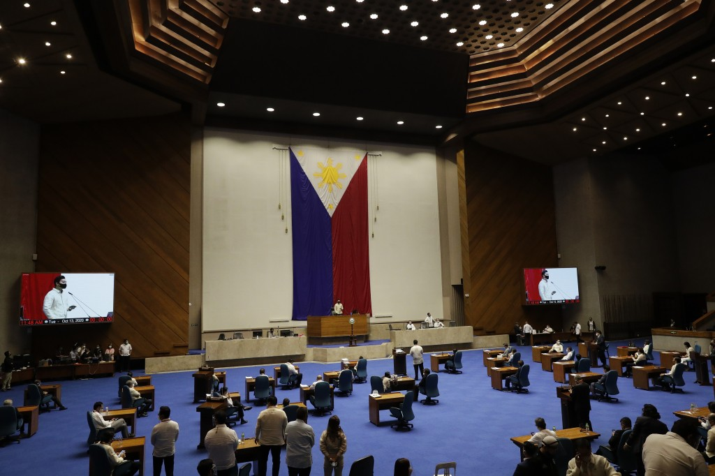 New house speaker Lord Allan Velasco bangs speaks during his first day at the House of Representatives in Quezon city, Philippines on Tuesday, Oct. 13...