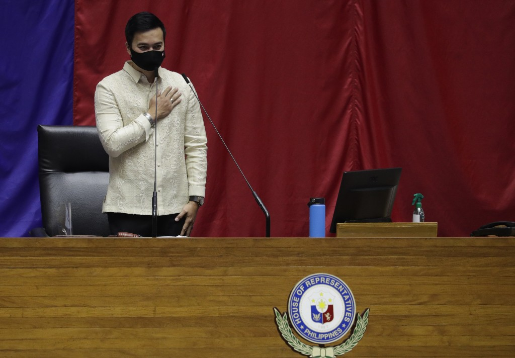 New House Speaker Lord Allan Velasco gestures during his first day at the House of Representatives in Quezon city, Philippines, Tuesday, Oct. 13, 2020...