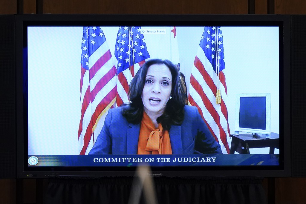 Democratic vice presidential candidate Sen. Kamala Harris, D-Calif., speaks virtually during a confirmation hearing for Supreme Court nominee Amy Cone...