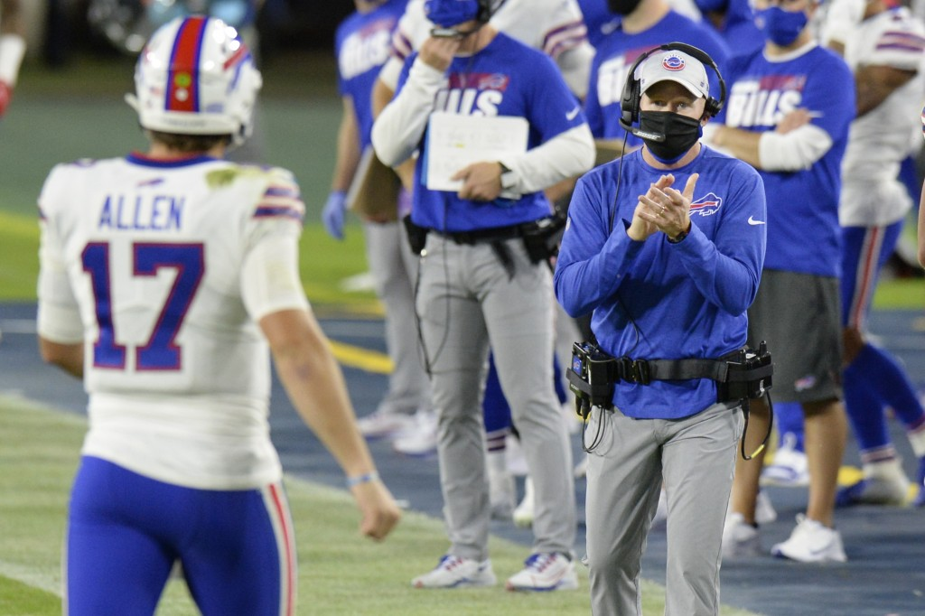 Buffalo Bills head coach Sean McDermott applauds quarterback Josh Allen (17) in the first half of an NFL football game against the Tennessee Titans Tu...