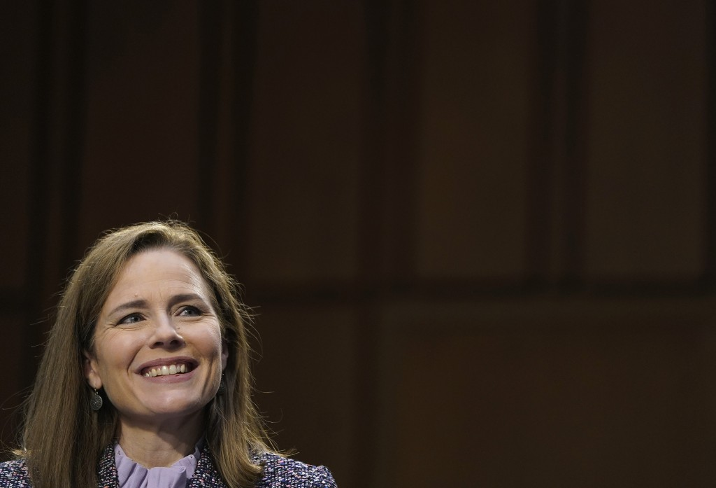 Supreme Court nominee Amy Coney Barrett testifies before the Senate Judiciary Committee during the third day of her confirmation hearings on Capitol H...