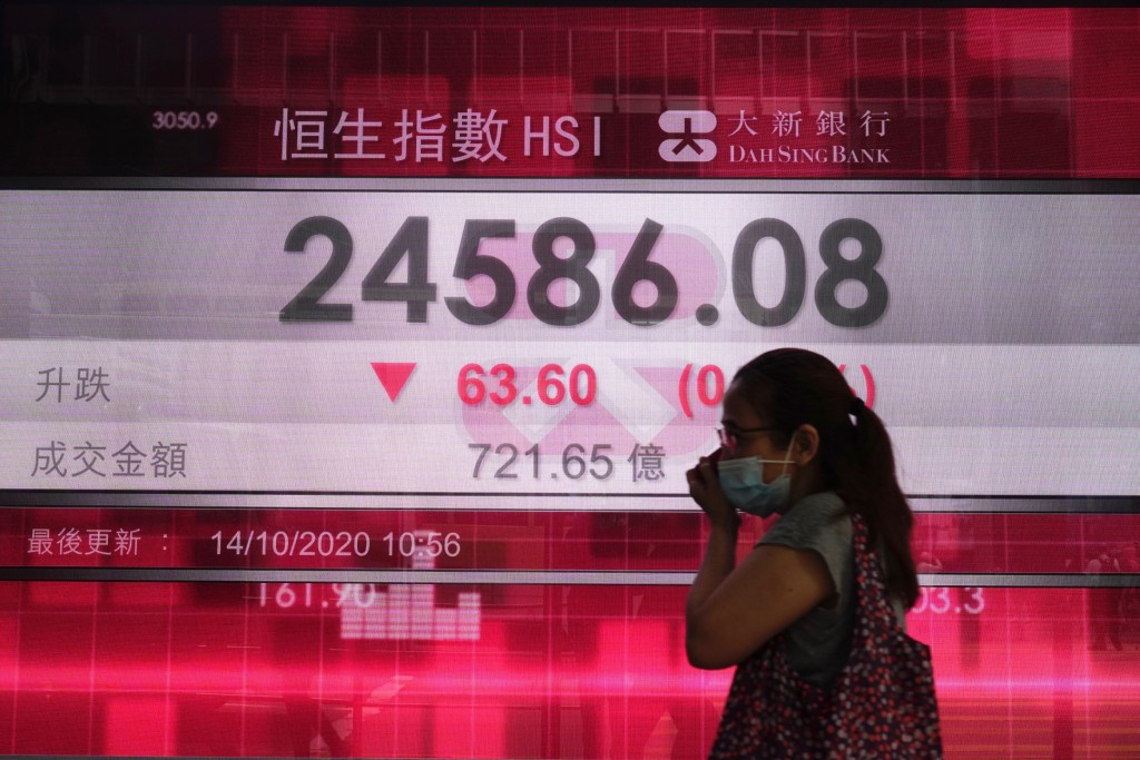 A woman walks past a bank's electronic board showing the Hong Kong share index at Hong Kong Stock Exchange Wednesday, Oct. 14, 2020. Shares were mostl...