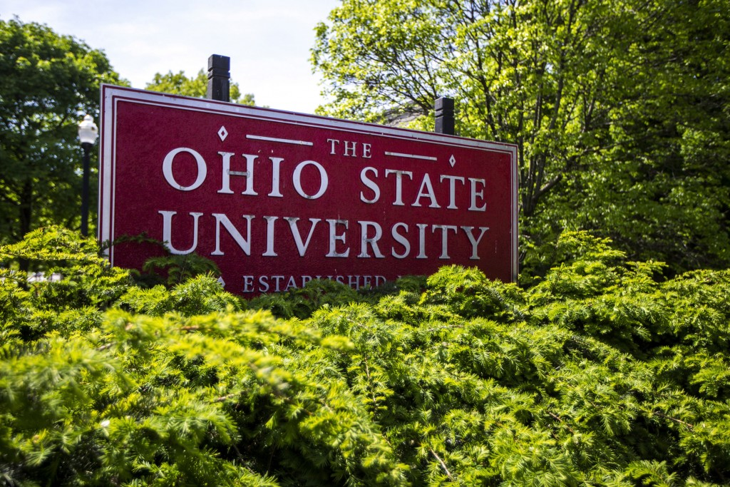FILE - This May 8, 2019, file photo, shows a sign for Ohio State University in Columbus, Ohio. Ohio State University said Tuesday, Oct. 13, 2020, it w...