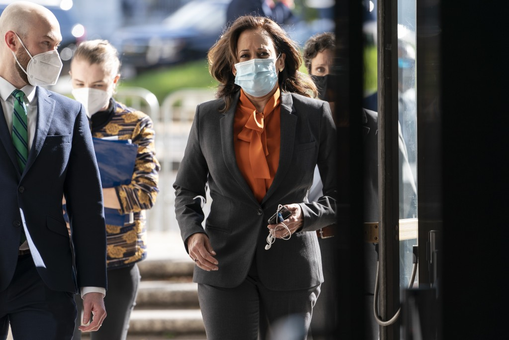 Democratic vice presidential candidate Sen. Kamala Harris, D-Calif., arrives on Capitol Hill for the confirmation hearing of Supreme Court nominee Amy...