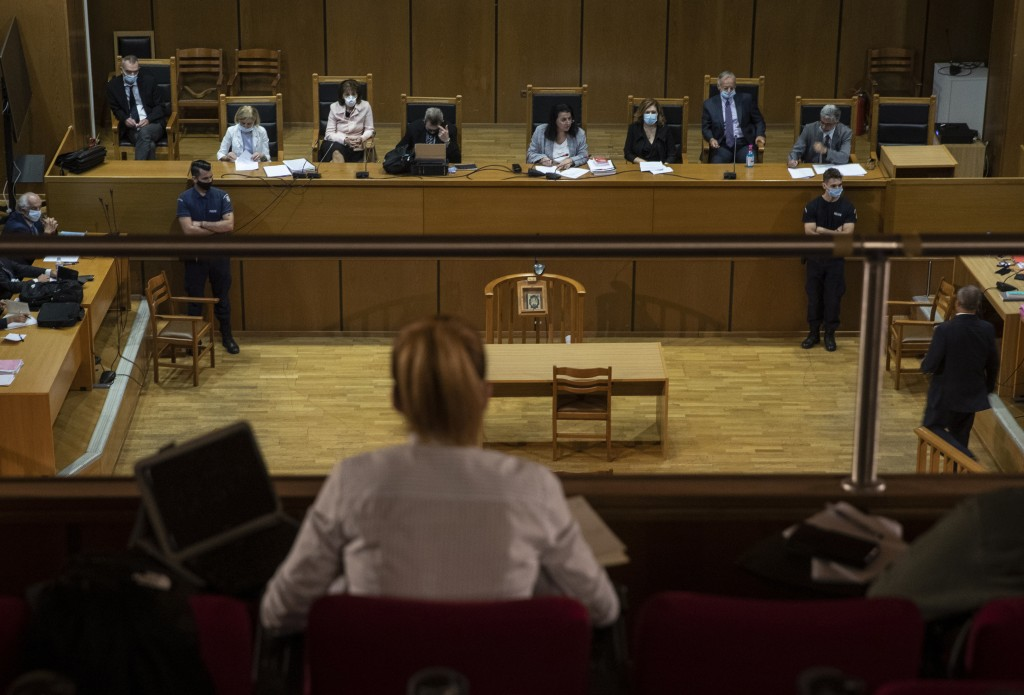 A vioew of the court during the sentencing announcement of the Golden Dawn trial, in Athens, Wednesday, Oct. 14, 2020. The court has sentenced the lea...