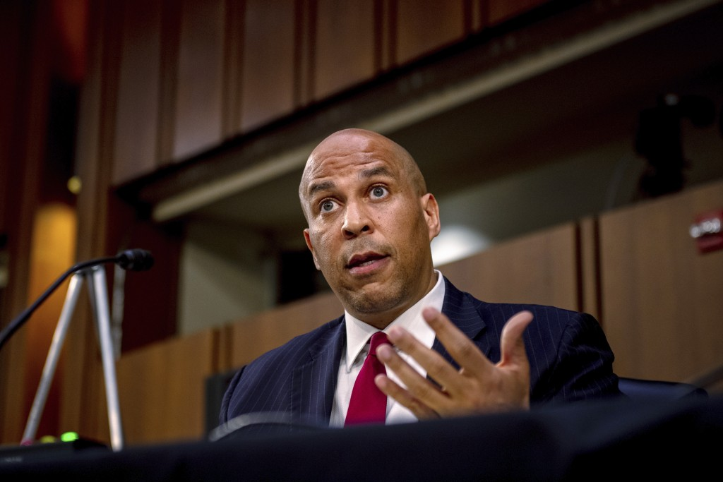 Sen. Cory Booker, D-N.J., speaks during a confirmation hearing for Supreme Court nominee Amy Coney Barrett before the Senate Judiciary Committee, Tues...