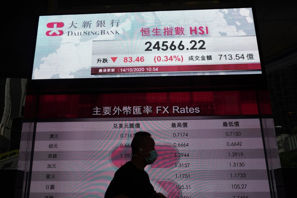 A man walks past a bank's electronic board showing the Hong Kong share index at Hong Kong Stock Exchange Wednesday, Oct. 14, 2020. Shares were mostly ...