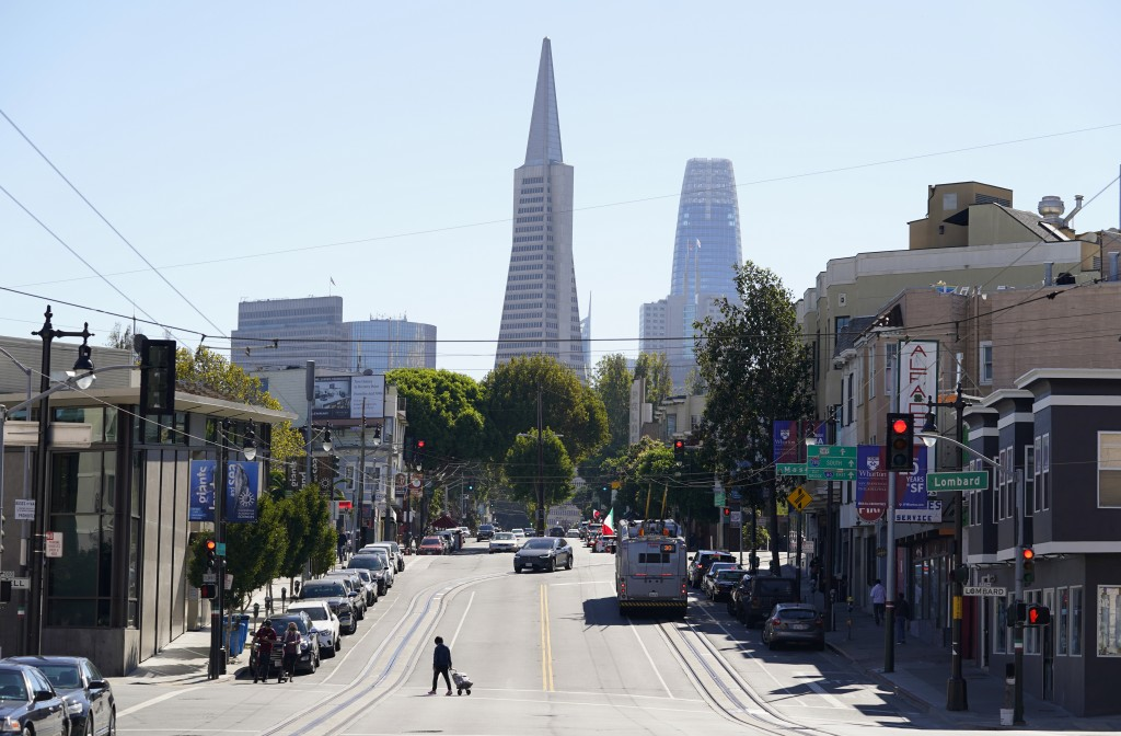 On a clear day is the view looking up Columbus Ave. with the Transamerica Pyramid and Salesforce Tower in the background in San Francisco on Oct. 11, ...