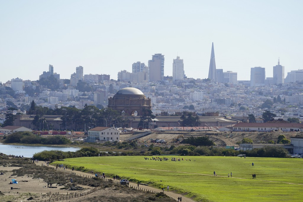 On a clear day is the skyline behind Crissy Field in San Francisco on Oct. 11, 2020. Wildfires that scorched huge swaths of the West Coast churned out...