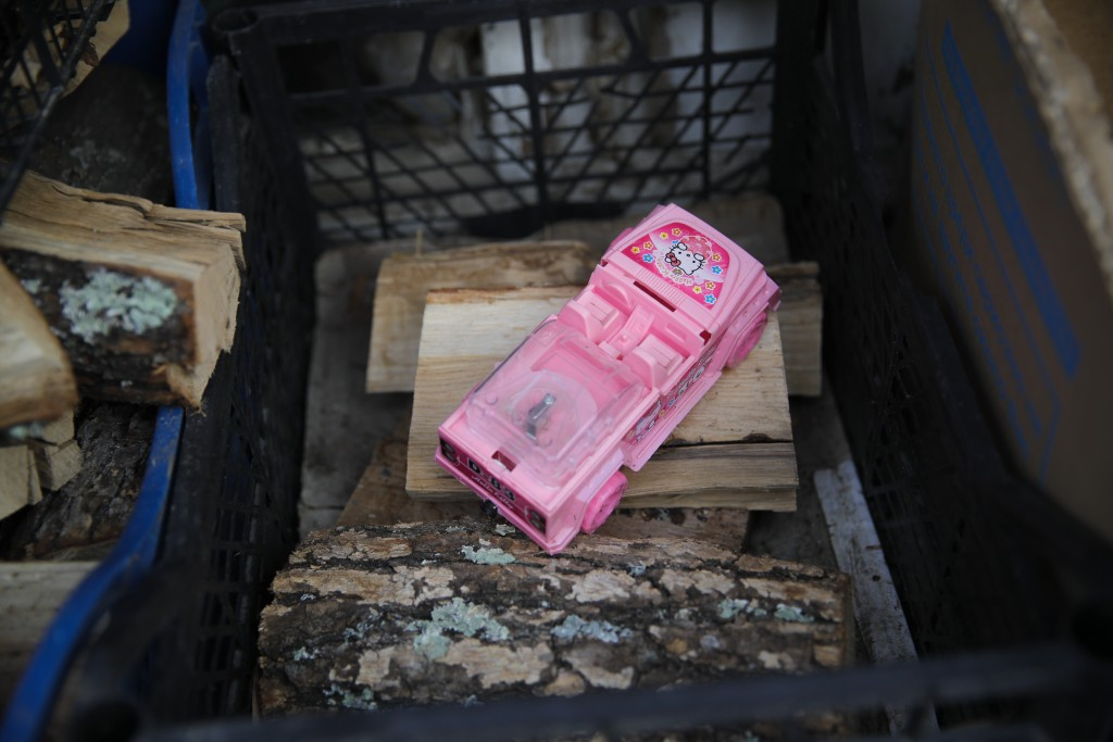 A toy car is placed on fire wood stored in a village on the outskirts of Burgas, Bulgaria, Monday, Sept. 28, 2020. Human rights activists and experts ...