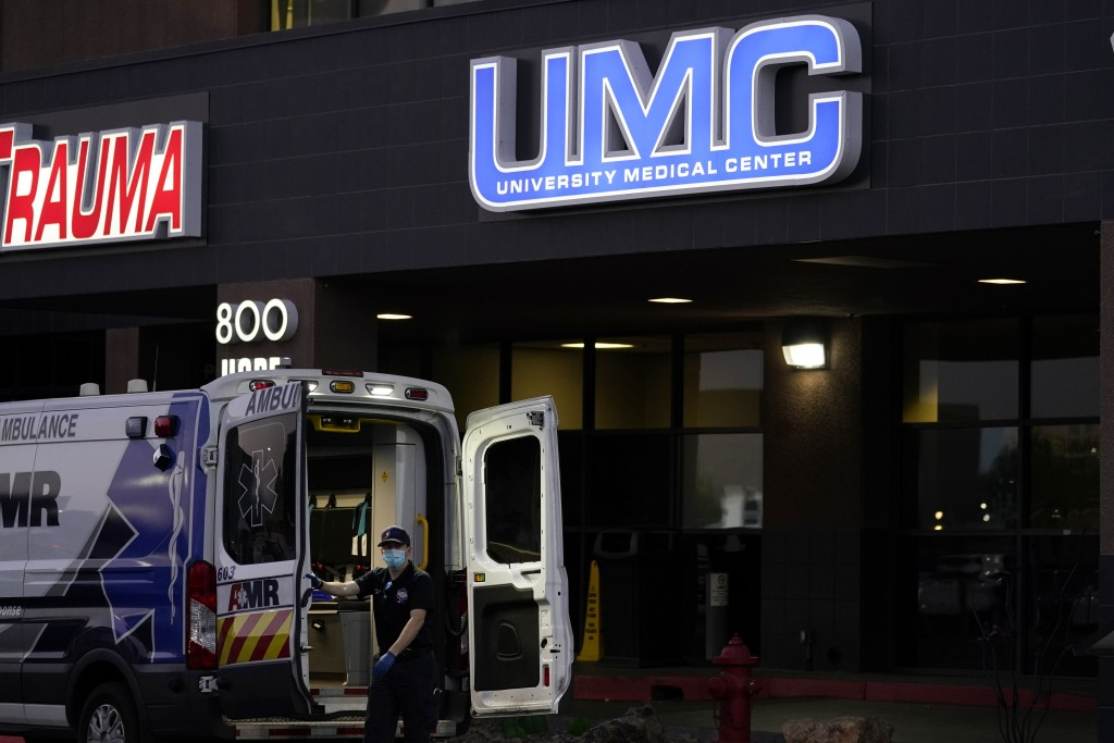 HOLD FOR STORY SLUGGED VIRUS OUTBREAK NEVADA UAE CHINA — In this Oct. 12, 2020, photo, An ambulance is parked at the University Medical Center in Las ...