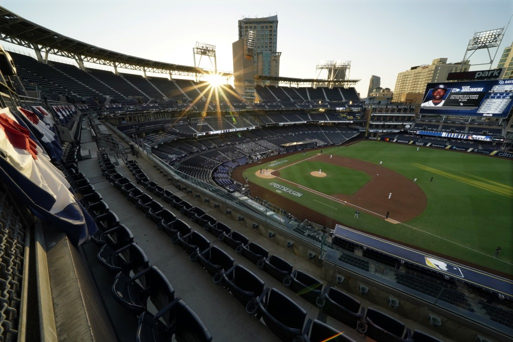The sun sets over Petco Park during the second inning between the Houston Astros and the Tampa Bay Rays in Game 4 of a baseball American League Champi...