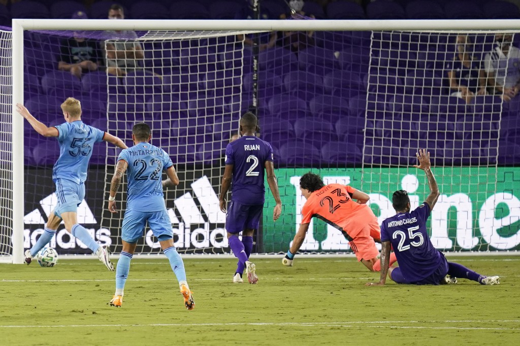 New York City FC midfielder Keaton Parks, far left, score a goal against Orlando City during the first half of an MLS soccer match, Wednesday, Oct. 14...