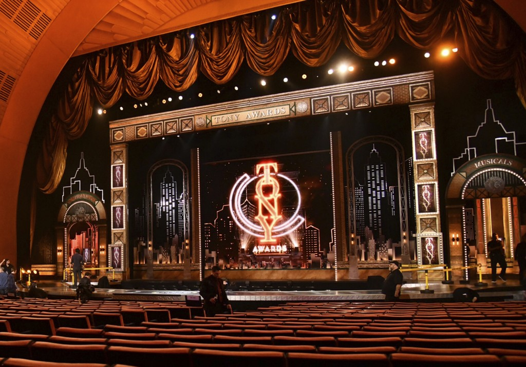 FILE - This JuNe 9, 2019 photo shows a view of the stage prior to the start of the 73rd annual Tony Awards in New York. Nominations for the  American ...