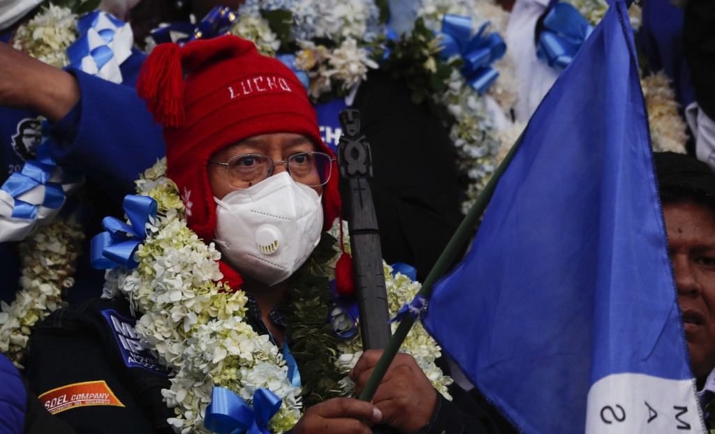 Bolivian presidential candidate for the Movement Towards Socialism Party, MAS, Luis Arce, attends his closing campaign rally for the upcoming Oct. 18,...