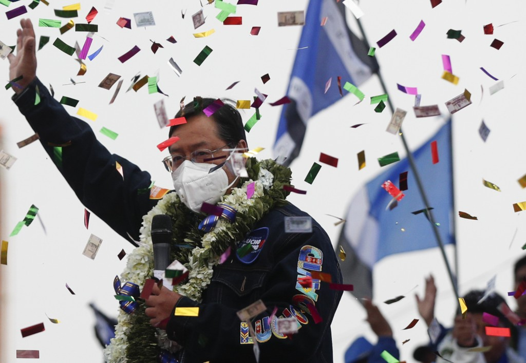 Bolivian presidential candidate for the Movement Towards Socialism Party, MAS, Luis Arce, waves to supporters during his closing campaign rally for th...