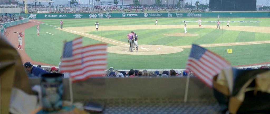 A 2019 game of Tecolotes de los Dos Laredo, a binational professional baseball team with home stadiums in Nuevo Laredo, Mexico, and Laredo, Texas, app...