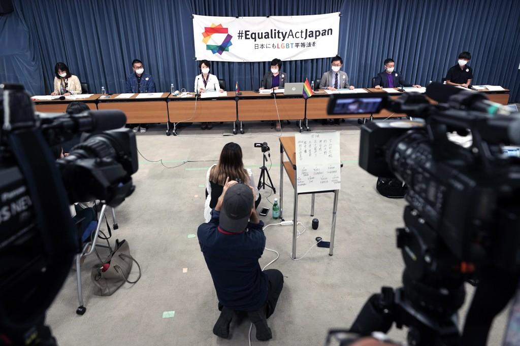 From left, Yumiko Murakami, head of OECD Tokyo, Gon Matsunaka, head of Pride House Tokyo Legacy, Kanae Doi, Japan director of Human Rights Watch, Yuri...
