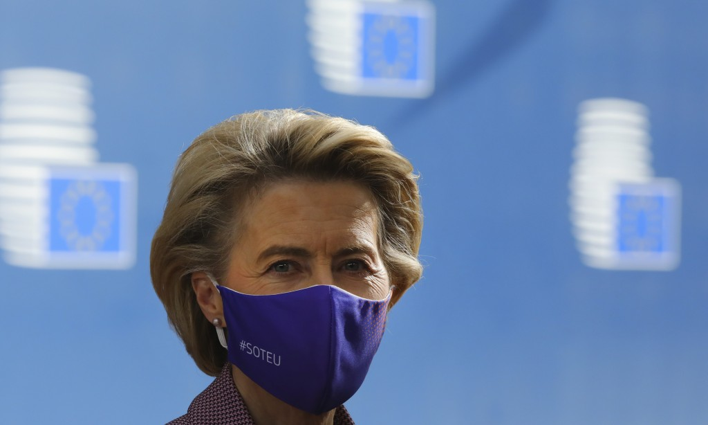 European Commission President Ursula von der Leyen arrives for an EU summit at the European Council building in Brussels, Thursday, Oct. 15, 2020. Eur...