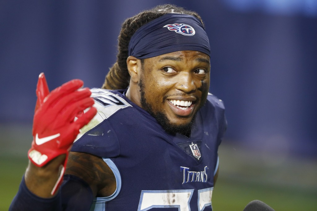 Tennessee Titans running back Derrick Henry leaves the field after an NFL football game against the Buffalo Bills Tuesday, Oct. 13, 2020, in Nashville...