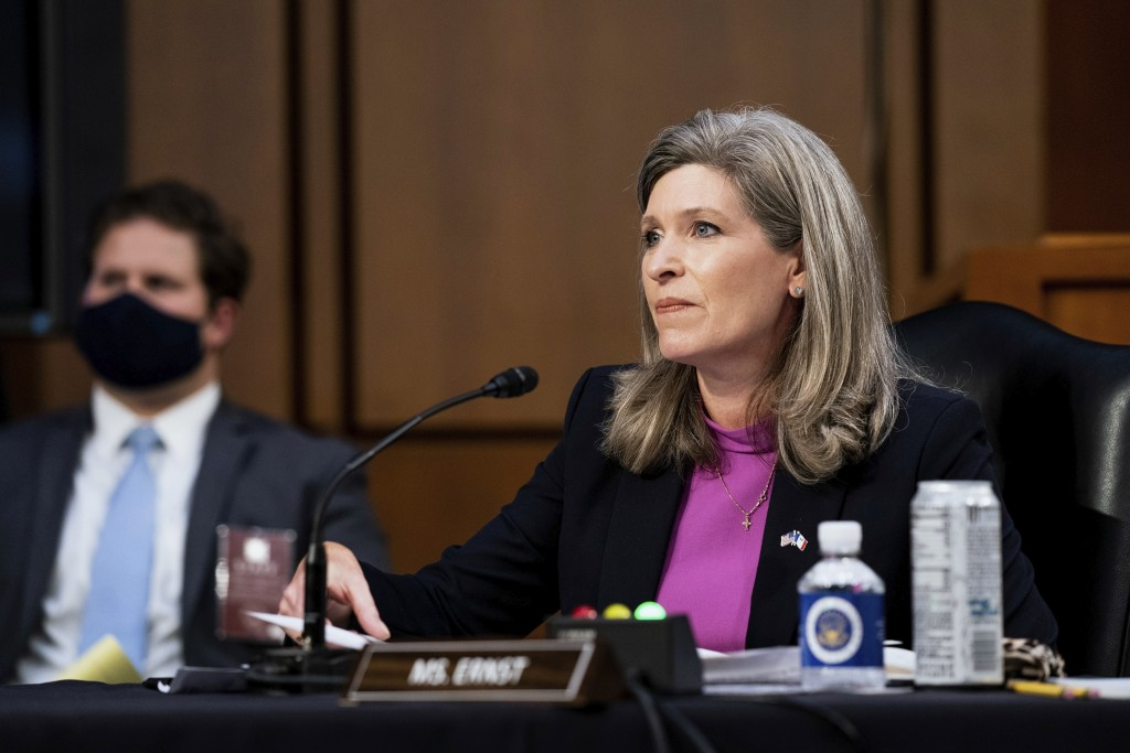 Sen. Joni Ernst, R-Iowa, speaks during the confirmation hearing for Supreme Court nominee Amy Coney Barrett, before the Senate Judiciary Committee, We...