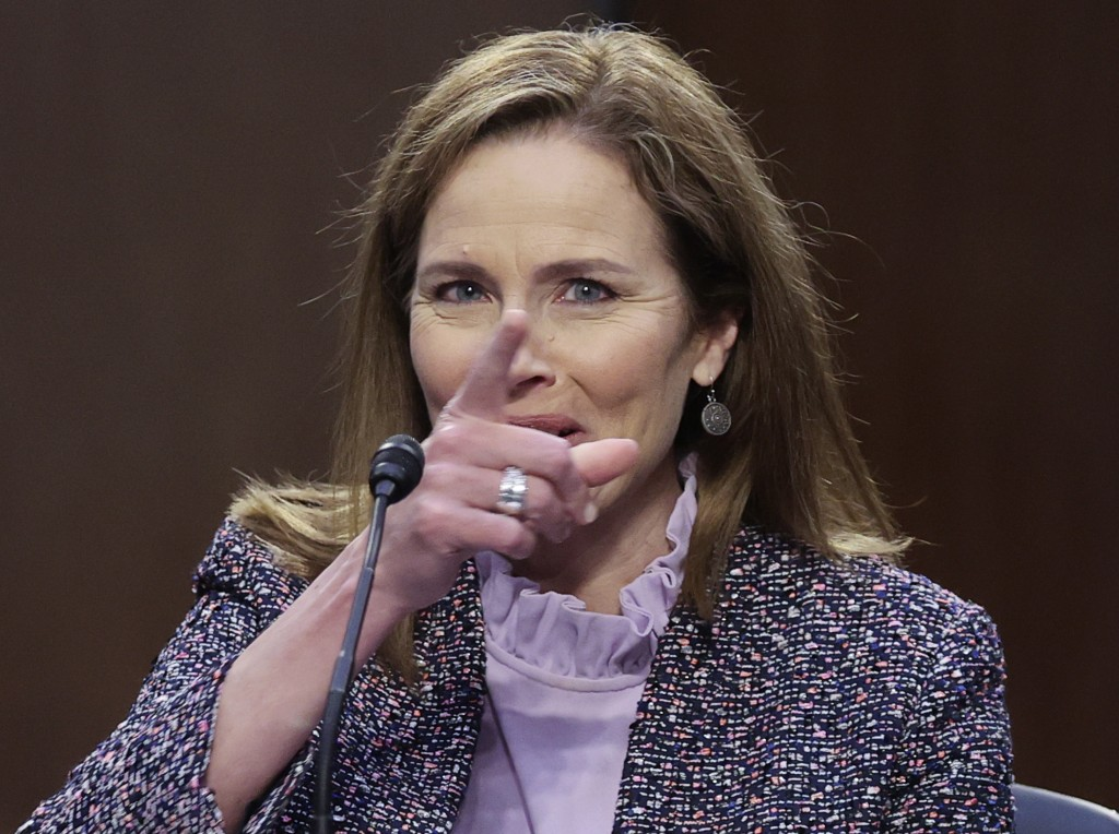 Supreme Court nominee Amy Coney Barrett testifies during the third day of her confirmation hearings before the Senate Judiciary Committee on Capitol H...