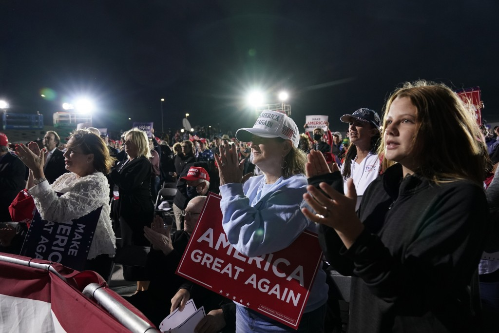 Supporters cheer as President Donald Trump speaks at a campaign rally at Des Moines International Airport, Wednesday, Oct. 14, 2020, in Des Moines, Io...