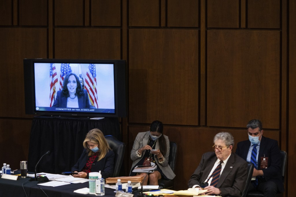 Democratic vice presidential candidate Sen. Kamala Harris, D-Calif., speaks virtually during the confirmation hearing for Supreme Court nominee Amy Co...