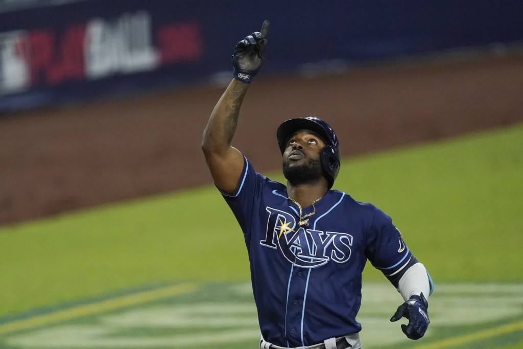 Tampa Bay Rays Randy Arozarena celebrates his two run home run during the fourth inning against the Houston Astros in Game 4 of a baseball American Le...