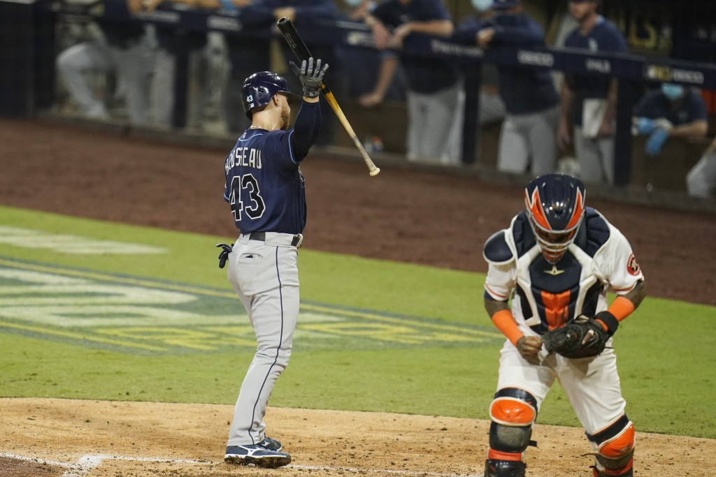 Houston Astros catcher Martin Maldonado reacts after Tampa Bay Rays' Michael Brosseau struck out with bases loaded during the sixth inning in Game 4 o...