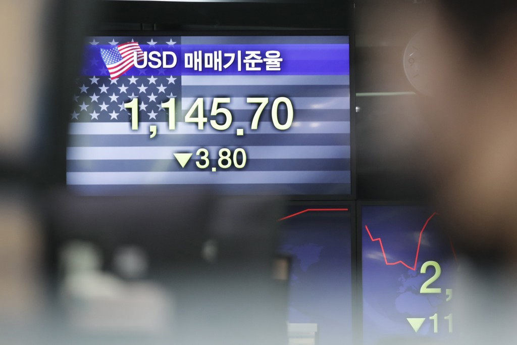 A screen showing the foreign exchange rate between U.S. dollar and South Korean won is seen at the foreign exchange dealing room in Seoul, South Korea...