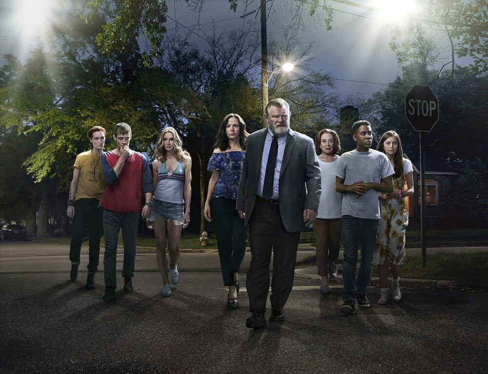 This image released by Peacock shows, from left, Breeda Wool, Harry Treadaway, Kelly Lynch, Mary-Louise Parker, Brendan Gleeson, Holland Taylor, Jharr...