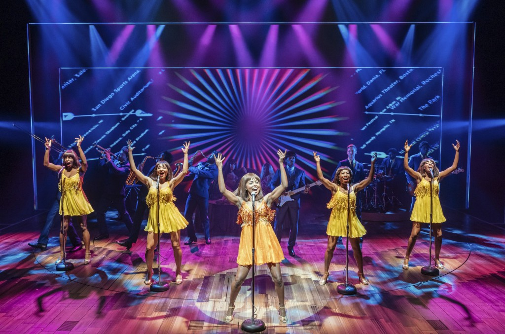 "This image released by Polk & Co. shows Adrienne Warren, center, during a performance of ""Tina: The Tina Turner Musical."" Nominations for Tony Awards ..."