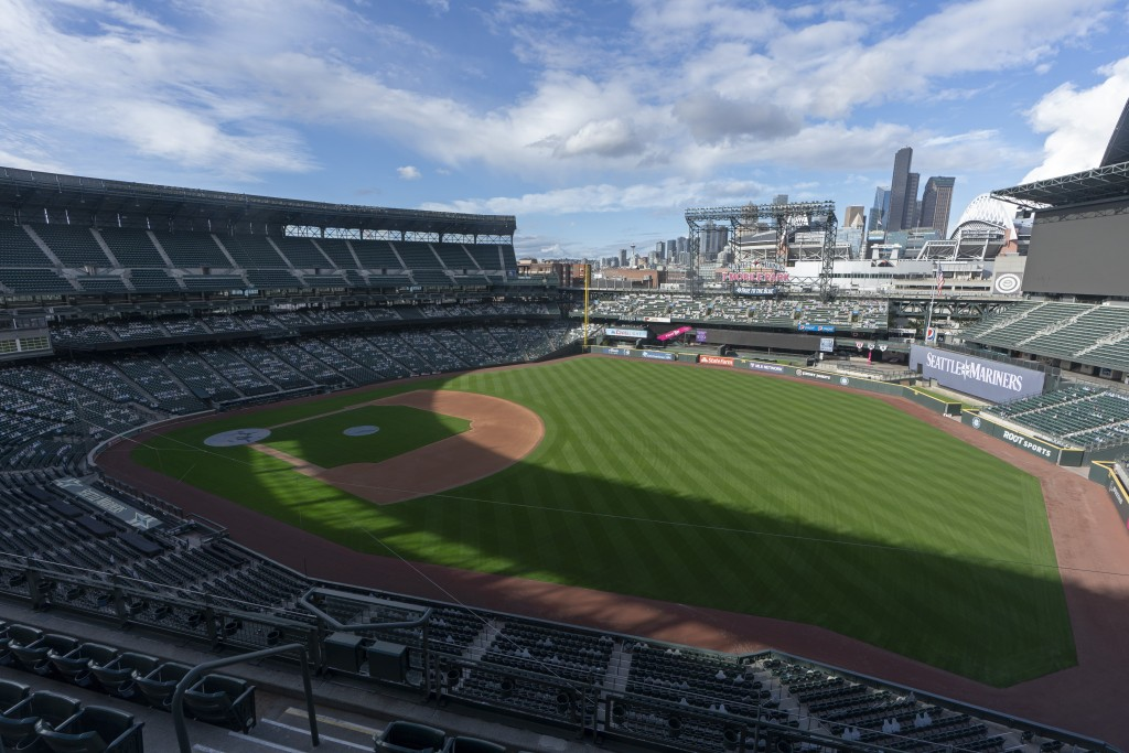 T-Mobile Park, home of the Seattle Mariners baseball team, is shown under clear skies, Wednesday, Oct. 14, 2020, in Seattle, in contrast to several we...