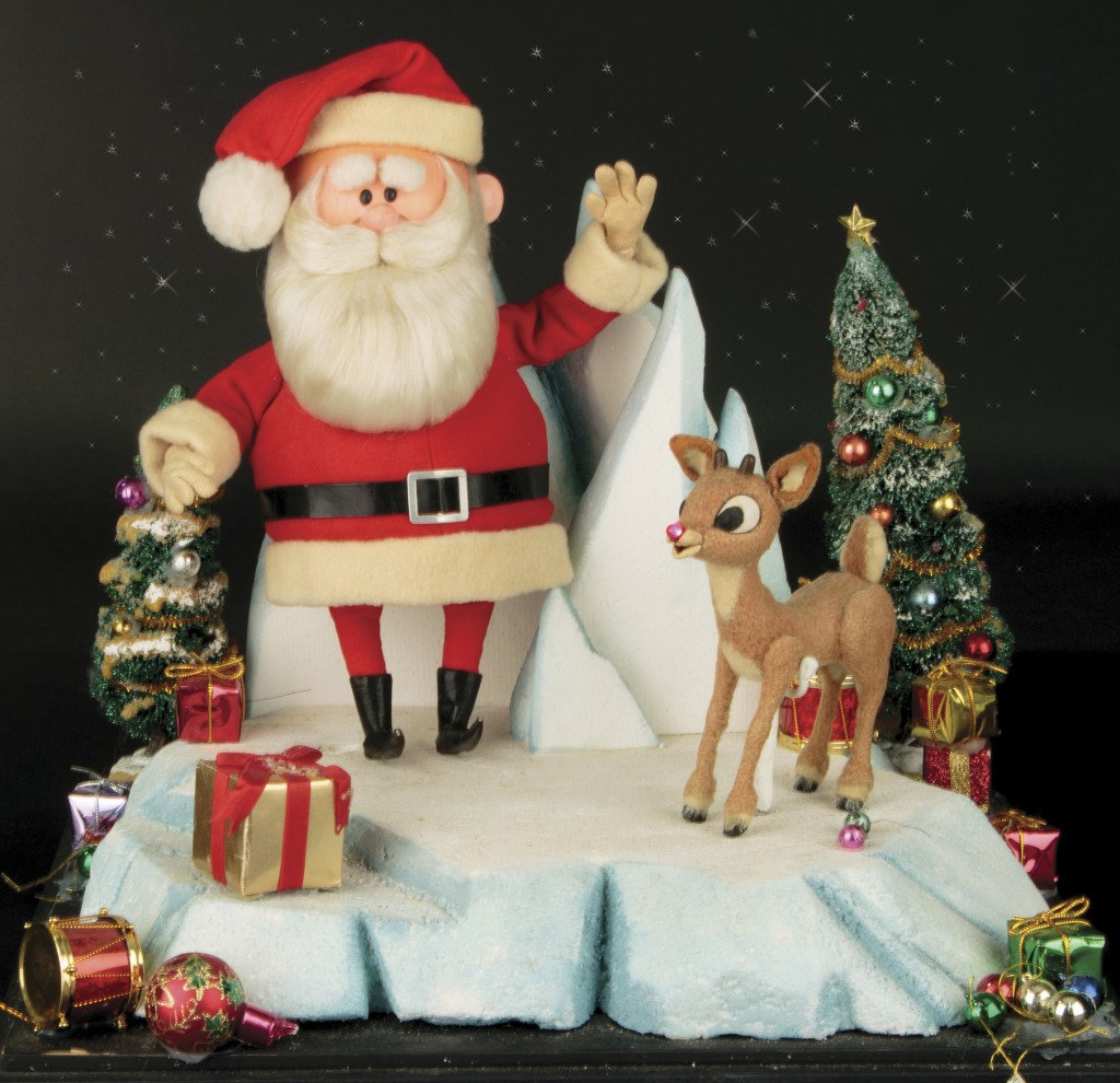 "This image released by Profiles in History shows a Santa Clause and Rudolph reindeer puppet used in the filming of the 1964 Christmas special ""Rudolph..."