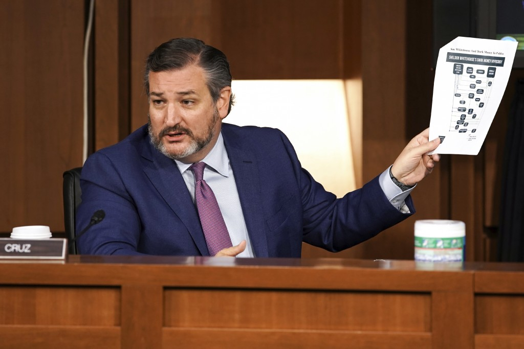 Sen. Ted Cruz, R-Texas, holds a chart as he questions Supreme Court nominee Amy Coney Barrett during the third day of her confirmation hearings before...