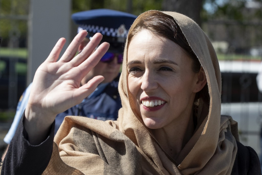 FILE - In this Sept. 24, 2020, file photo, New Zealand Prime Minister Jacinda Ardern waves as she walks from the Al Noor mosque in Christchurch, New Z...